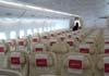 Os assentos da classe econômica do Airbus A380, número de série 007, F-WWJB, futuro avião da Emirates. (11/12/2007)