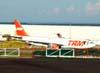 Airbus A330-203, PT-MVF, da TAM, estacionado no pátio do Centro Tecnológico da companhia paulista. (13/03/2008)