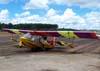 Ultraleve Hidroflyer, PU-VIO, do Aeroclube de Batatais, estacionado no pátio.