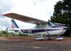 Cessna 172E, PT-CDO, com a pintura da Air France na cauda. Esta aeronave foi utilizada na gravação do último capítulo da novela Roque Santeiro, da Rede Globo, em 1986.