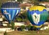 Bloões decolando para participar da primeira prova do 23º Campeonato Brasileiro de Balonismo, em São Carlos. (20/07/2010)