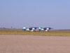 Ultraleves Rans S-10 do Hangar Del Cielo, da Argentina, pilotados por Cesar Falistocco e Gustavo Passano, alinhados na cabeceira da pista.