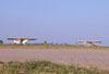 P56B-1 Paulistinha, PP-GYE, na cabeceira da pista e P56C-1 Paulistina, PP-HLV, na taxiway, ambos do Aero-clube de Bragança Paulista.