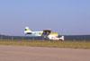 P56-C Paulistinha, PP-GXR, do Aero-clube de de Bragança Paulista correndo para decolar. Na taxiway está o P56-C Paulistinha, PP-GXN.