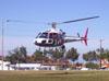 Helibrás/Eurocopter AS-350BA Esquilo, Águia 6, PP-EOJ, da Polícia Militar de São Paulo, decolando do Estádio Rui Barbosa, em São Carlos. (29/06/2006)