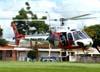 Eurocopter/Helibrás AS-350BA Esquilo, PP-EOJ, Águia 6 da Polícia Militar do Estado de São Paulo, decolando do Estádio Rui Barbosa em São Carlos. (12/03/2009)