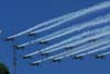 Esquadrilha da Fumaça quebrando o recorde mundial com 12 aeronaves em vôo invertido.