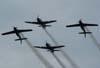 Passagem dos Tucanos 1, 2, 3 e 4, da Esquadrilha da Fumaça, com os alas em vôo invertido.