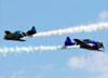 North American T-6D PT-KRC (esquerda) e PT-LDQ do Circo Aéreo. (19/08/2018)