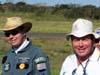 À partir da esquerda, Pedrinho Mello, piloto do Grumman Showcat, PP-XDI, do Brazilian Wingwalking Airshows, e Lídio Bertolini Neto, que se apresentou com o planador PZL Bielsko SZD-48-3 Jantar Standard 3, PT-POV.