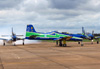 Tenente Coronel Aviador Wagner de Almeida Esteves sendo saudado com fumaça pelos pilotos do EDA. (18/12/2012)