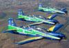 Tucanos 1, 2 e 3 da Esquadrilha da Fumaça voando ao lado de um ERJ 145 da Passaredo na região de Ribeirão Preto. (18/09/2011)