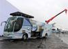 Ônibus da MAGA Aviation possui um guindaste no telhado que pode remover um motor de um Challenger e um elevador que pode estender a uma altura de sete metros (23 pés) para trabalhar em uma cauda. (15/08/2017)