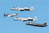 North American P-51D Mustang, Fairchild A-10 Thunderbolt II e Lockheed Martin F-35A Lightning II. (29/07/2017) Foto: Celia Passerani