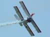 """Marta """"Wingwalking"""" Bognar voando nas asas do Grumman Showcat, PP-XDI, pilotado por Pedrinho Melo, durante a primeira apresentação. Foto: Valdemar Júnior"""