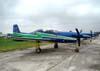 Os sete Embraer EMB-312 T-27 Tucano, da Esquadrilha da Fumaça, estacionados no pátio do PAMA (Parque de Material Aeronáutico) de São Paulo.