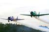 Decolagem dos aviões da Esquadrilha Oi. A partir da esquerda, o North American T-6D, PT-LDQ, aeronave número 2 (roxo), pilotado pelo Laert Gouvêa, e o North American T-6D, PT-KRC (verde), aeronave número 1, pilotada pelo Comandante Carlos Edo. Foto: Bruno Schmidt.