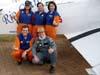 Da esquerda para a direita, em pé, Ana, Marta Bognar, Valquíria e, agachados, Hugo e Pedrinho Mello, do Brazilian Wingwalking Airshows. Foto: Júnior JUMBO.