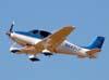 Comandante Deco decolando com o Cirrus SR-22 GTS, N445CP, em direção à Jundiaí, depois de deixar o locutor Vadico, que estava em Caldas Novas/GO durante o Aerocaldas.
