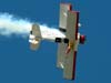 "A wingwalker Marta Bognar voando na asa do Grumman G-164B ""Showcat"", PP-XDI, do Brazilian Wingwalking Airshows, pilotado por Pedrinho Mello."