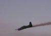 Rasante do T-27 Tucano, número 1, da Esquadrilha da Fumaça. Aeronave extra que levou dois oficiais até Rio Claro para fazerem a apresentação do evento.