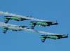 T-27 Tucanos 1, 2, 3 e 4 da Esquadrilha da Fumaça voando invertido em formação diamante. (01/07/2007)